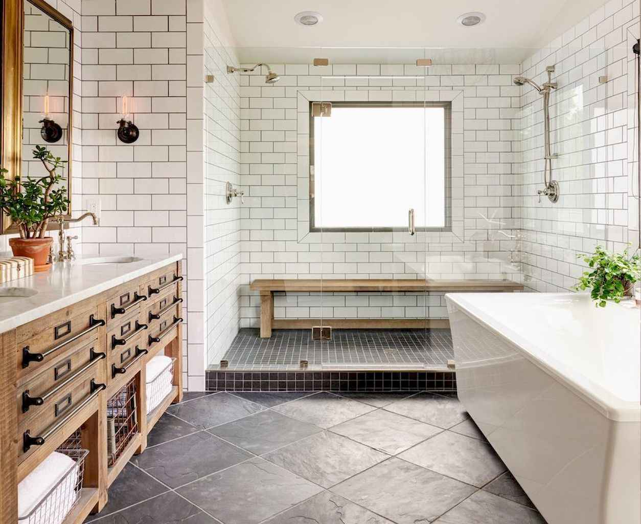 100 Farmhouse Bathroom Tile Shower Decor Ideas And Remodel To ...